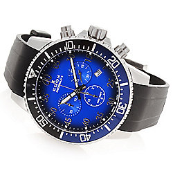Distinctive Dive Watches  - 649-402 EDOX Men's 44mm Chronorally-S Swiss Made Quartz Chronograph Rubber Strap Watch - 649-402