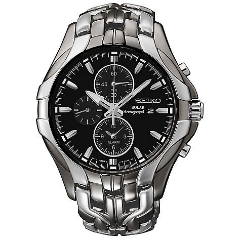 1e60d1f2270 649-768- Seiko Men s 43mm Solar Quartz Chronograph Alarm Stainless Steel  Bracelet Watch