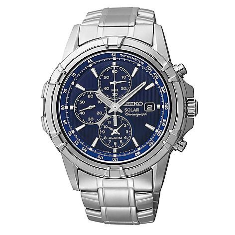 d11498aed25 649-770- Seiko Men s 42mm Solar Quartz Chronograph Alarm Stainless Steel  Bracelet Watch