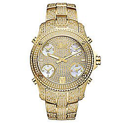 JBW Men's 50mm Jet Setter Quartz Limited Edition Diamond Accented Time Zone Bracelet Watch w/ Strap