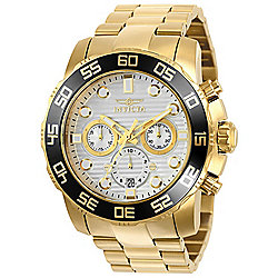 Invicta Men's 50mm Pro Diver Quartz Chronograph Silver-tone Dial Stainless Steel Bracelet Watch