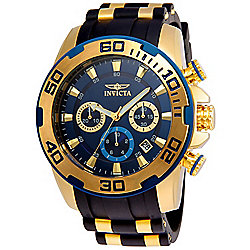 Invicta Men's 50mm Pro Diver Quartz Chronograph Gold-tone Stainless Steel & Silicone Strap Watch