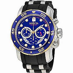 Invicta Men's 48mm Pro Diver Quartz Chronograph Blue Dial Stainless Steel & Silicone Strap Watch