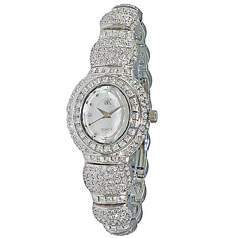 5468b1cc306 Adee Kaye Women's Tall Oval Quartz Mother-of-Pearl Crystal Accented ...