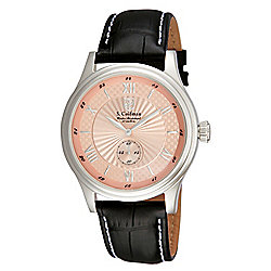 S. Coifman Men's 43mm Heritage Quartz Silver-tone Case Rose-tone Dial Leather Strap Watch