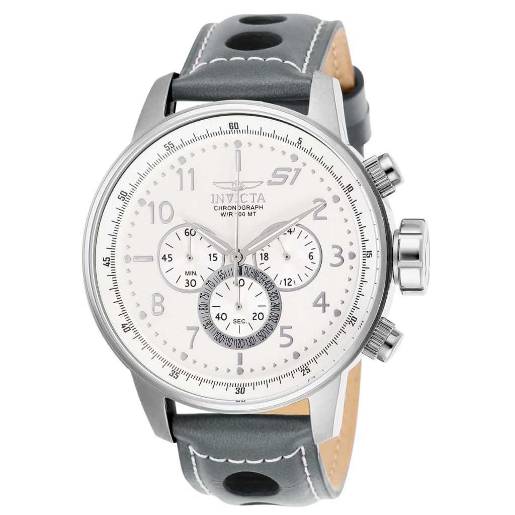Invicta Men's 48mm S1 Rally Quartz Chronograph Leather Strap Watch - 653-037