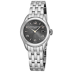 Baume & Mercier Women's Clifton Swiss Made Quartz Date Charcoal Dial Stainless Steel Bracelet Watch