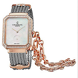 Charriol Women's St. Tropez Mansart Swiss Made Quartz Mother-of-Pearl Diamond Accented Bangle Watch