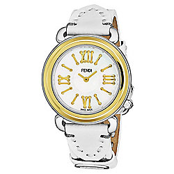 Fendi Women's Selleria Swiss Made Quartz Mother-of-Pearl Gold-tone Bezel White Leather Strap Watch
