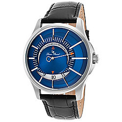 Lucien Piccard Men's 46mm Vertigo Quartz Date Blue Dial Leather Strap Watch