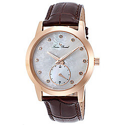 Lucien Piccard Women's Noureddine Quartz Crystal Accented Mother-of-Pearl Brown Leather Strap Watch