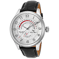 Lucien Piccard Men's 47mm The Capital Quartz Day & Date Silver-tone Case Leather Strap Watch