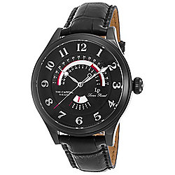 Lucien Piccard Men's 47mm The Capital Quartz Day & Date Black Case Leather Strap Watch