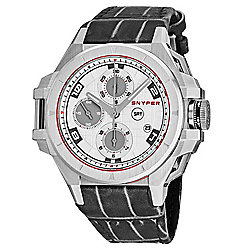 Snyper Men's 49mm IronClad Swiss Made Automatic Chronograph White Dial Leather Strap Watch