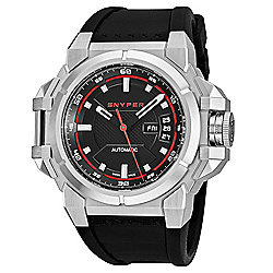 Snyper Men's 48mm Swiss Made Automatic Silver-tone Case Rubber Strap Watch