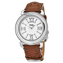 Fendi Women's Selleria Swiss Made Quartz Mother-of-Pearl Dial Leather Strap Watch