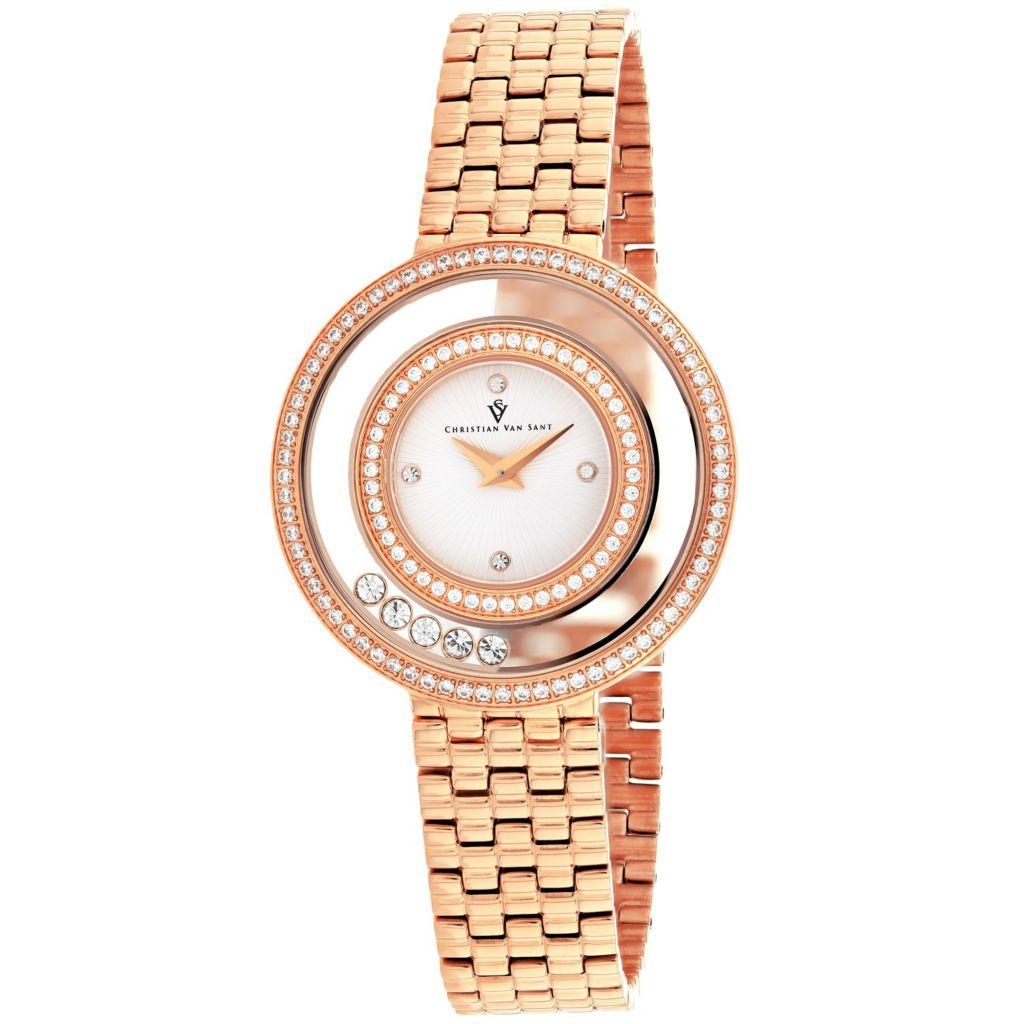 Christian Van Sant Women's Gracieuse Quartz Crystal Accented Bracelet Watch - 656-540