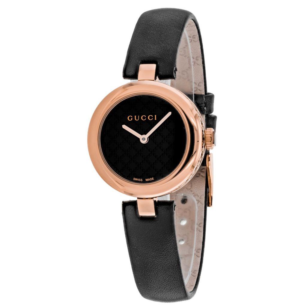 383332f7 Gucci Women's Diamantissima Swiss Made Quartz Black Dial Leather Strap Watch