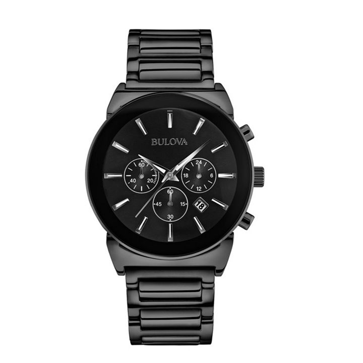 Web Exclusive Watches Up to 90% Off at ShopHQ 656-696 Bulova Men's 40mm Classic Quartz Chronograph Date Black Stainless Steel Bracelet Watch