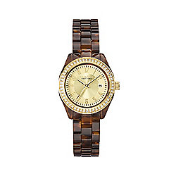 Caravelle by Bulova Women's Quartz Crystal Accented Faux Tortoiseshell Bracelet Watch