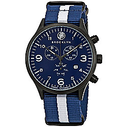 Brooklyn Watch Co. Men's 44mm Bedford Brownstone Quartz Chronograph Blue Nylon Strap Watch