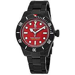 Brooklyn Watch Co. Men's 41mm Black Eyed Pea Quartz Red Dial Stainless Steel Bracelet Watch