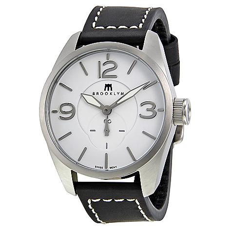 Brooklyn_Watch_Co._Men's_44mm_Lafayette_Swiss_Quartz_Men's_White_Stitch_Leather_Strap_Watch