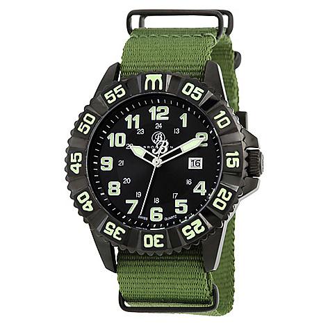 Brooklyn_Watch_Co._Men's_44mm_Essex_Swiss_Quartz_Black_Dial_Green_Canvas_Strap_Watch