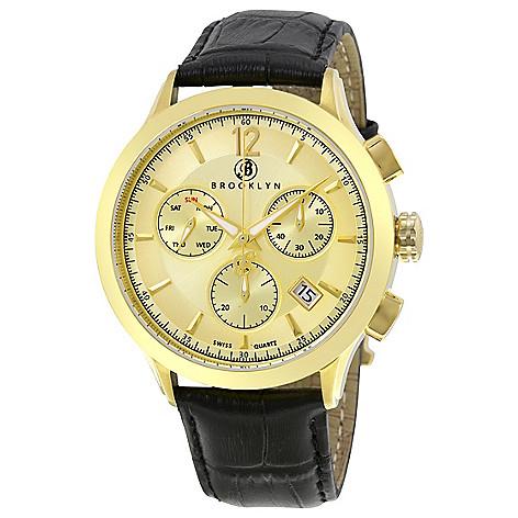 Brooklyn_Watch_Co._Men's_46mm_Dakota_Swiss_Quartz_Chrono_Gold-tone_Dial_Leather_Strap_Watch