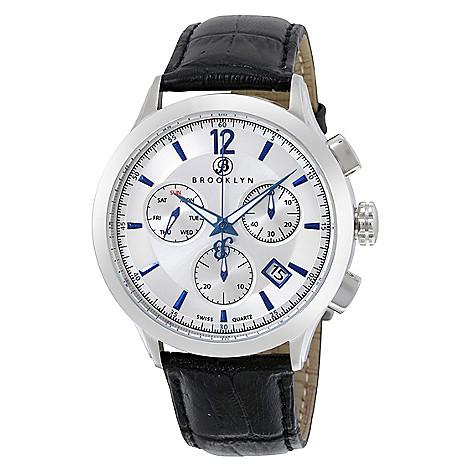 Brooklyn_Watch_Co._Men's_46mm_Dakota_Swiss_Quartz_Chrono_Silver-tone_Dial_Leather_Strap_Watch