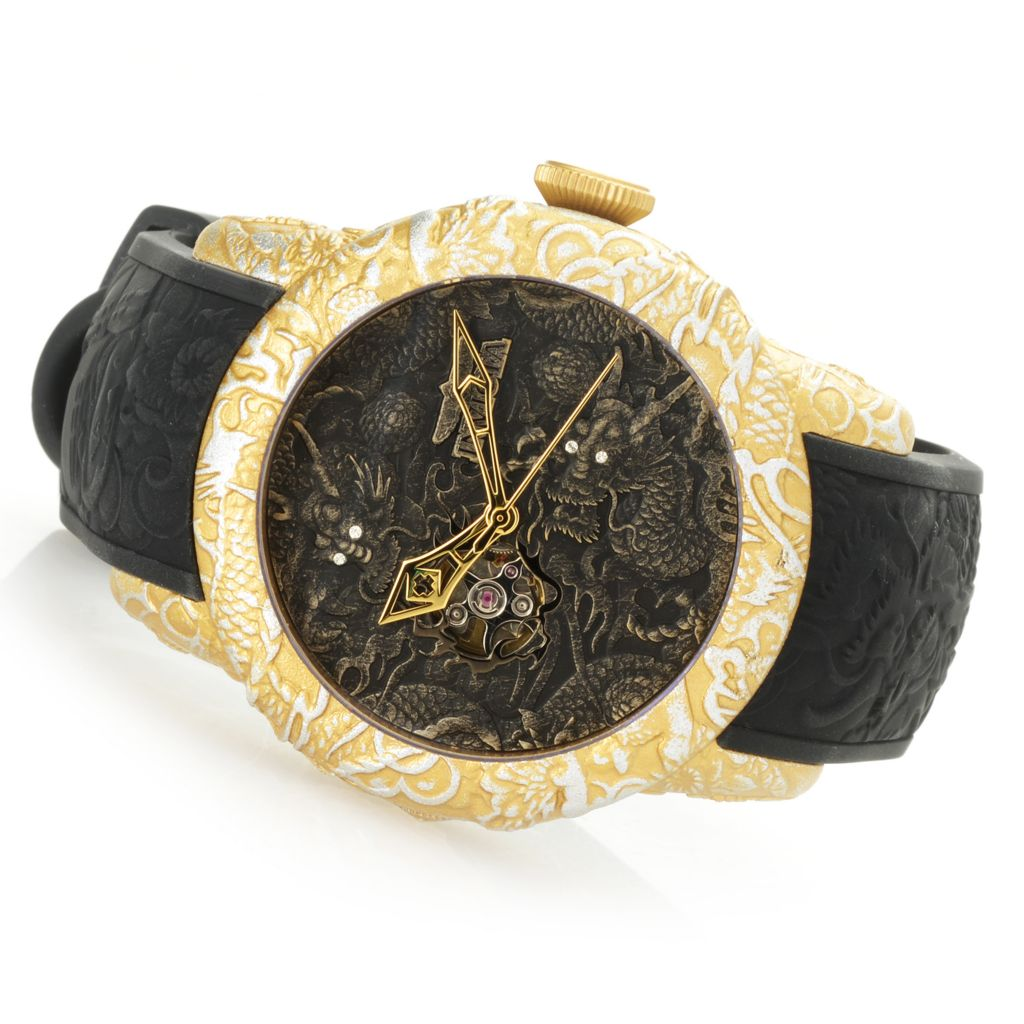 Invicta Men's 50mm Empire Dragon Automatic Crystal Accented Silicone Strap  Watch w/ 3-Slot Dive Case