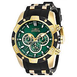 6f4573f03 Invicta Men's 48mm Speedway Quartz Chronograph Gold-tone Case Green Dial  Silicone Strap Watch