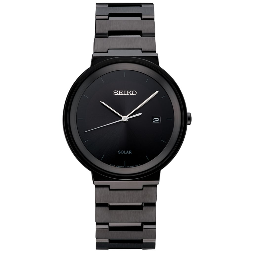 Seiko Men S 40mm Essentials Solar Quartz Black Ion Plated Stainless Steel Bracelet Watch