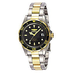 Invicta 37mm Pro Diver Quartz Date Black Dial Two-tone Stainless Steel Bracelet Watch