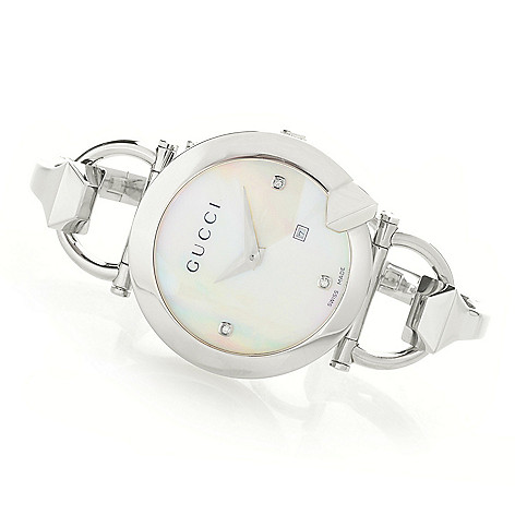 ea77f9e429e 659-357- Gucci Women s Chiodo Swiss Made Quartz Diamond Accented Stainless  Steel Bangle Watch