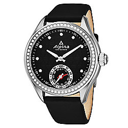 Alpina Women's Horological Swiss Made Quartz Diamond Accented Black Leather Strap Smartwatch