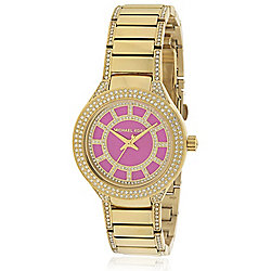 aa0977a6a4e4 Michael Kors Women s Mini Kerry Quartz Crystal Accented Pink Dial Gold-tone Bracelet  Watch