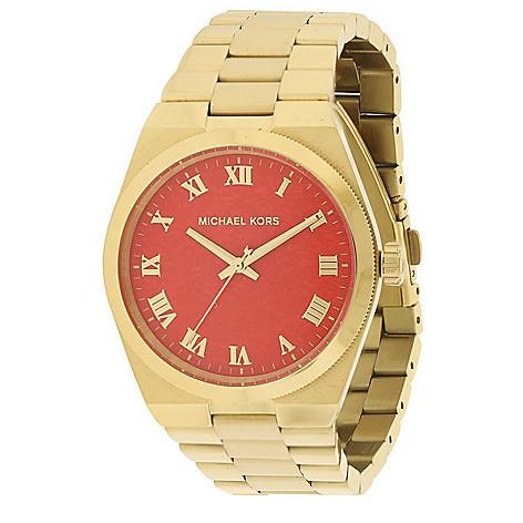 ba0de15c63fd 659-581- Michael Kors Women s Channing Quartz Red Dial Gold-tone Bracelet  Watch