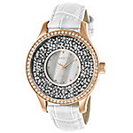 7274cbbaa Invicta Women's Angel Quartz Crystal Accented Black Mother-of-Pearl ...