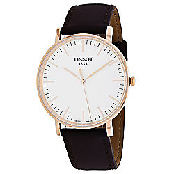 30d8635eb24 Tissot Men s 42mm Everytime Swiss Made Quartz White Dial Brown Leather  Strap Watch