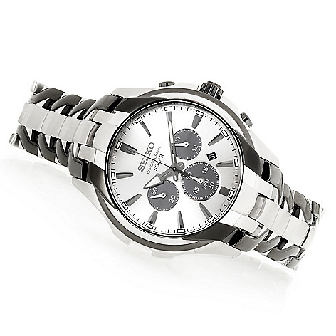 2c3717554 660-206- Seiko Men's 44mm Solar Quartz Chronograph Stainless Steel Bracelet  Watch