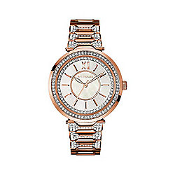 Wittnauer Women's Taylor Quartz Crystal Accented Mother-of-Pearl Dial Rose-tone Bracelet Watch