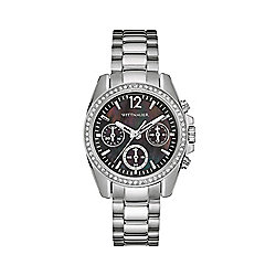 Wittnauer Women's Quartz Chronograph Black Mother-of-Pearl Dial Crystal Accented Bracelet Watch