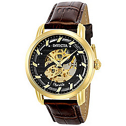 9673fa998c8e Invicta Men s 44mm Objet d Art Automatic Skeletonized Dial Brown Leather  Strap Watch