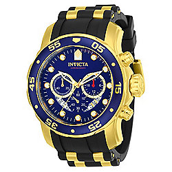 Invicta Men's 48mm Pro Diver Scuba Quartz Chronograph Date Blue Dial Black Silicone Strap Watch