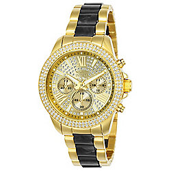 ad36e63bd Invicta Women's Angel Quartz Chronograph Crystal Accented Gold-tone  Stainless Steel Bracelet Watch