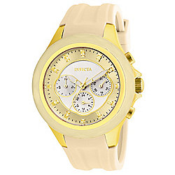 499c38255 Invicta Women's Angel Quartz Day & Date Beige Silicone Strap Watch