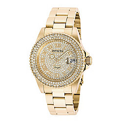 0abbfb9c2 Invicta Women's Angel Quartz Date Crystal Accented Gold-tone Stainless  Steel Bracelet Watch