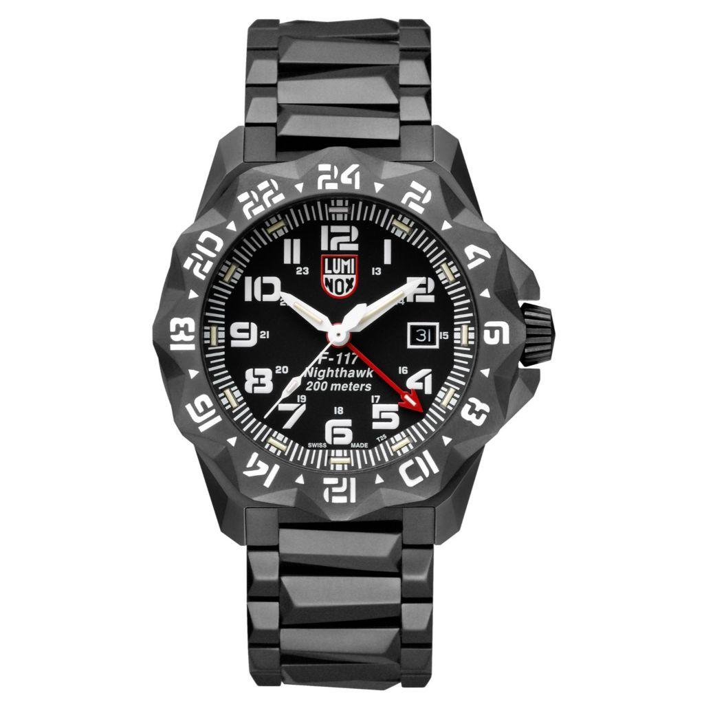 Luminox Men S 45mm F 117 Nighthawk Swiss Made Quartz Date Black Stainless Steel Bracelet Watch