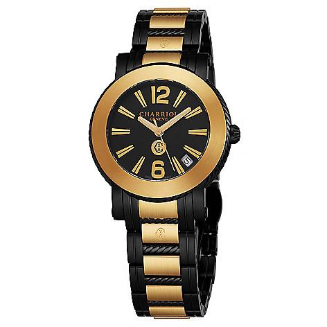 007bb9c181f 661-215- Charriol Women s Parisi Swiss Made Quartz Black   Gold-tone  Stainless